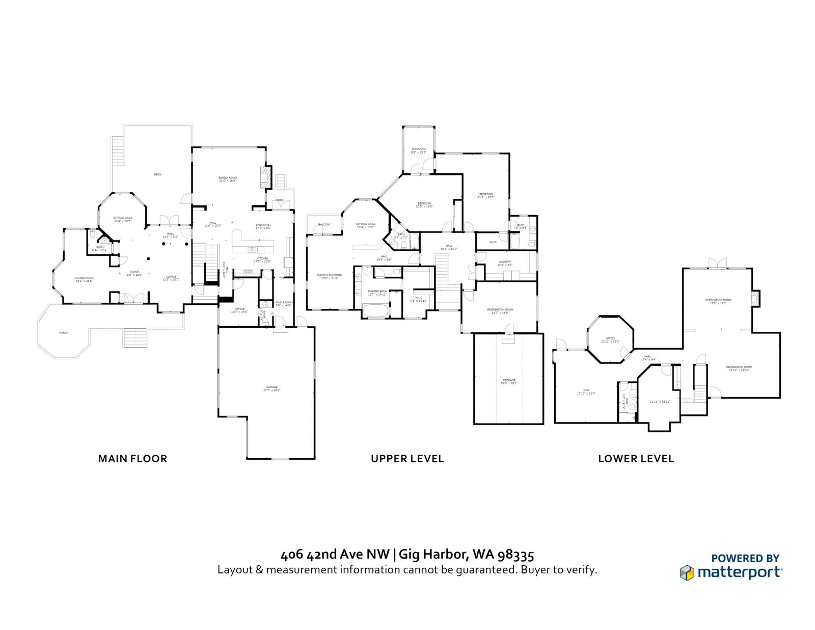 FLOOR PLAN: 406 42nd Ave NW, Gig Harbor WA 98335