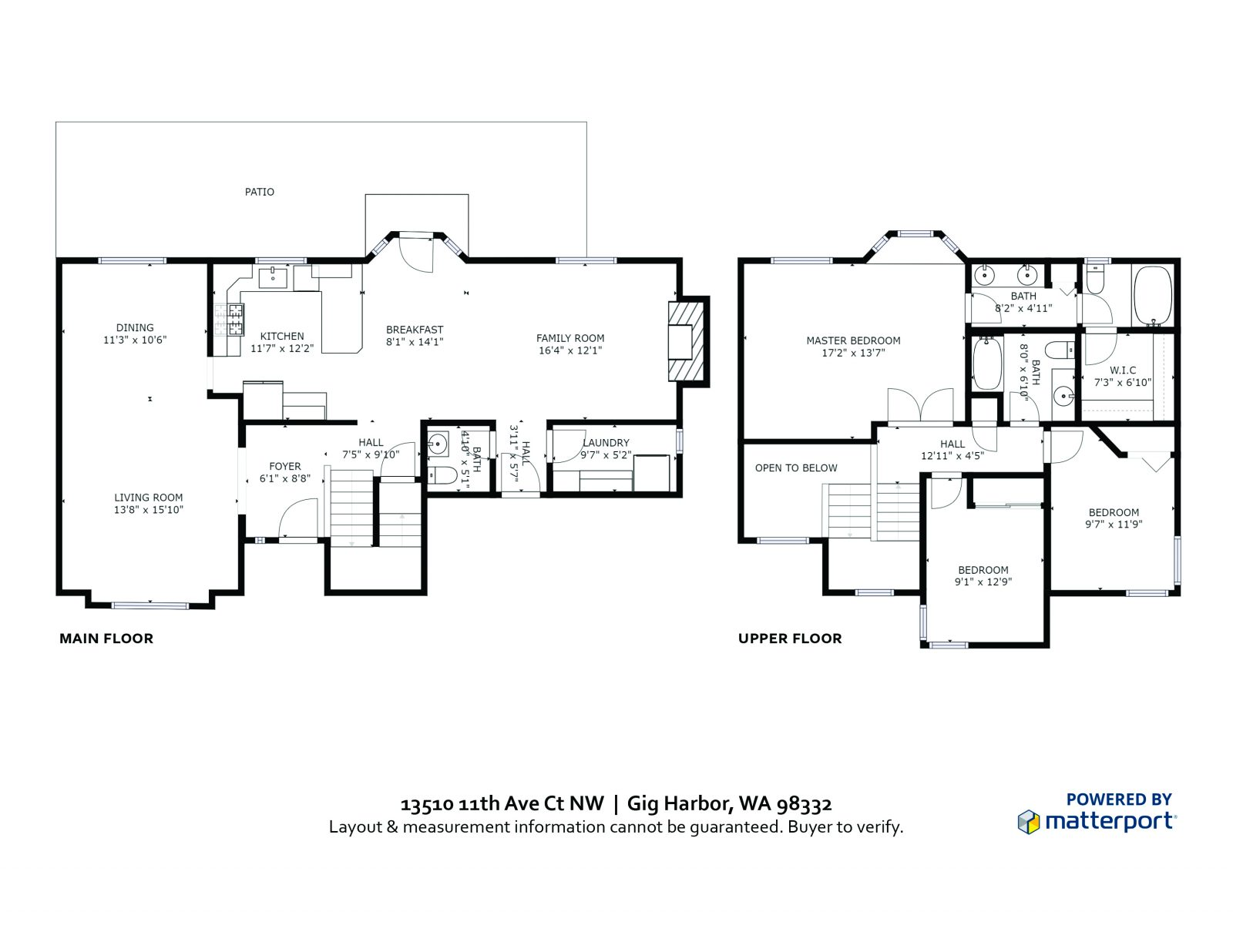 Floor Plan:  13510 11th Ave Ct NW, Gig Harbor WA 98332
