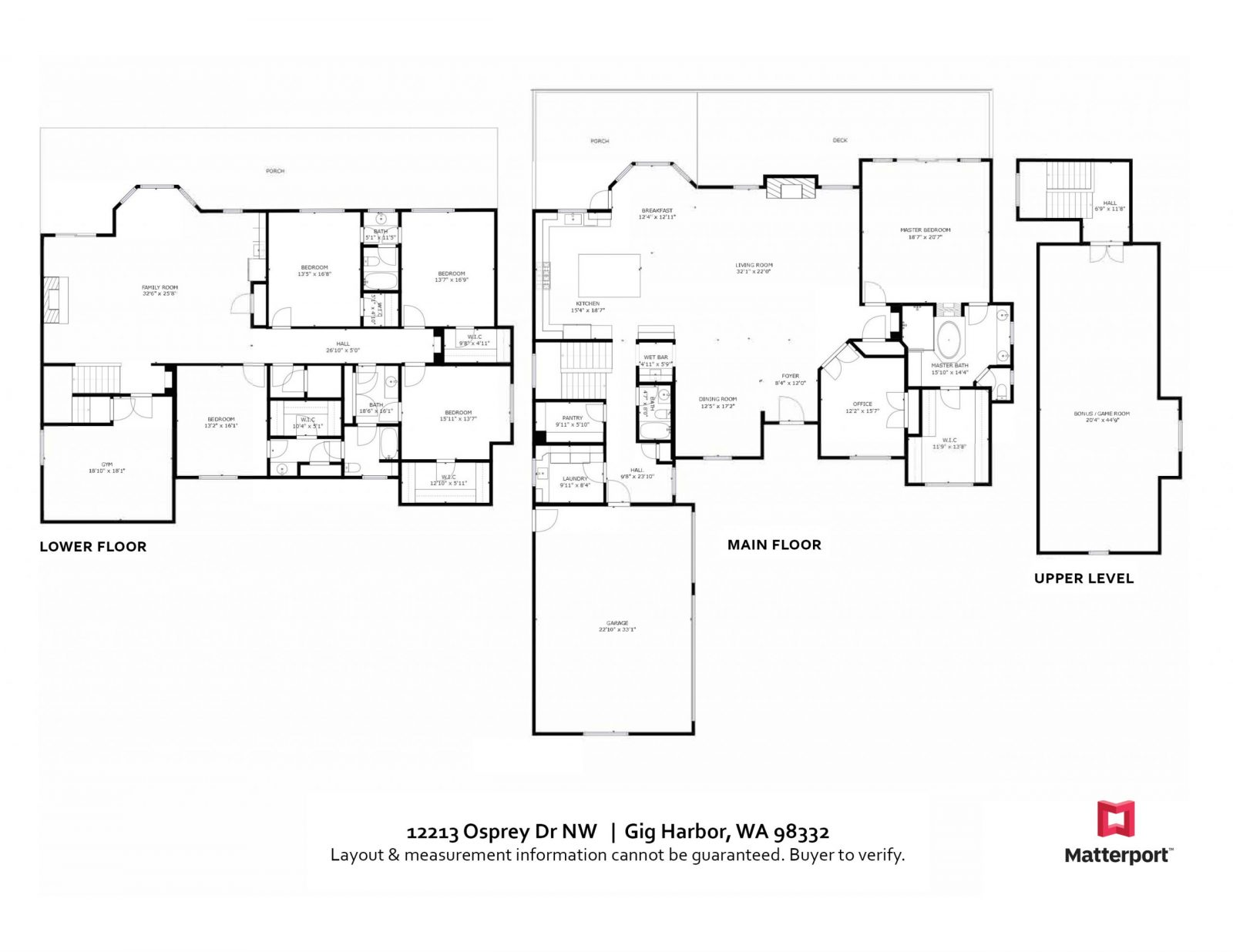 FLOOR PLAN: 12213 Osprey Dr, Gig Harbor WA 98333