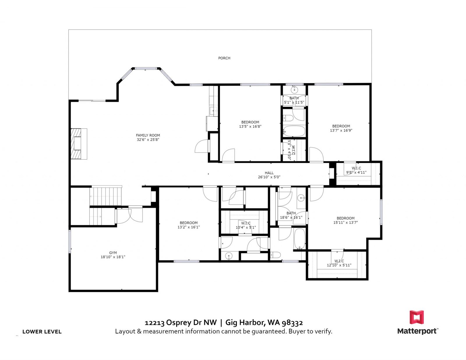 LOWER FLOOR:  12213 Osprey Dr, Gig Harbor WA 98332