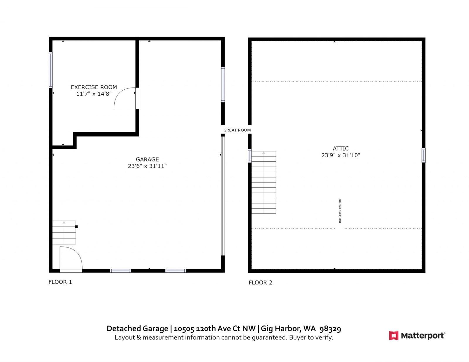 GARAGE FLOOR PLAN: 10505 120th Ave Ct NW, Gig Harbor WA 98329