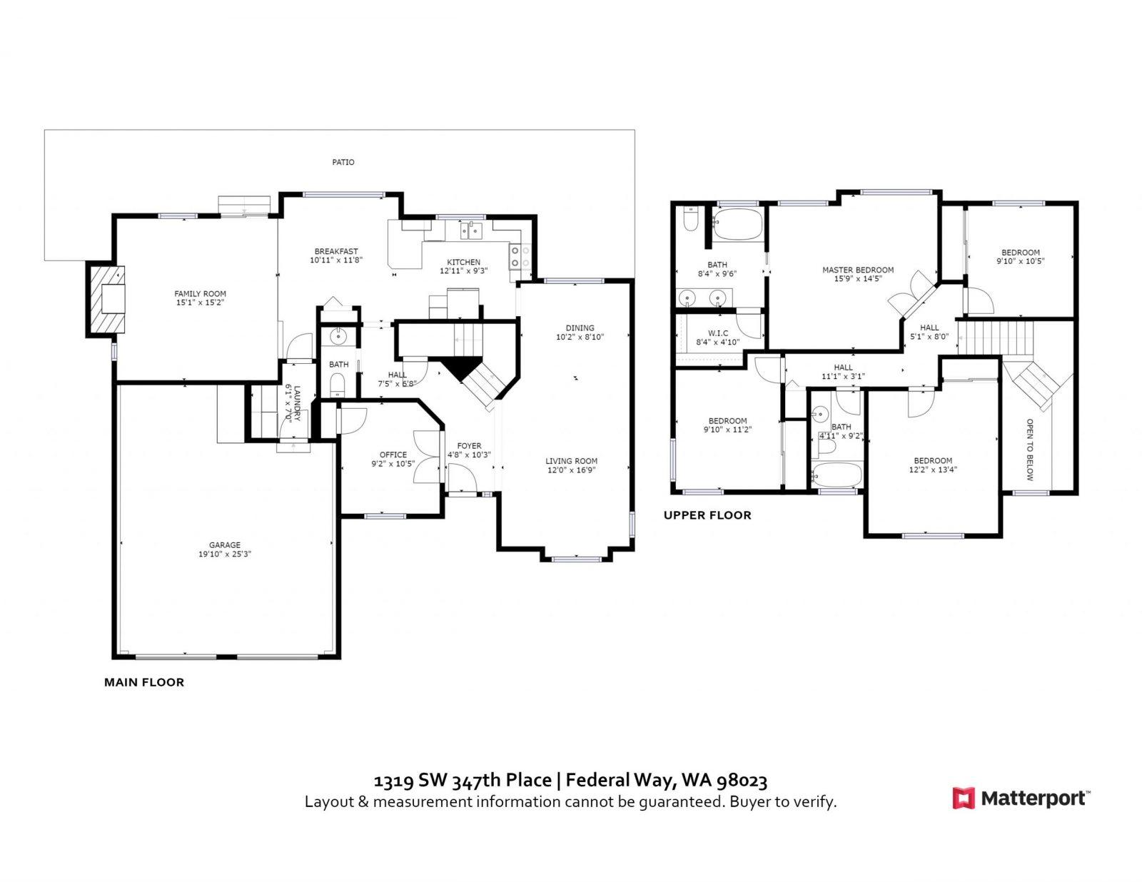 FLOOR PLAN: 1319 SW 347th Place, Federal Way WA 98023