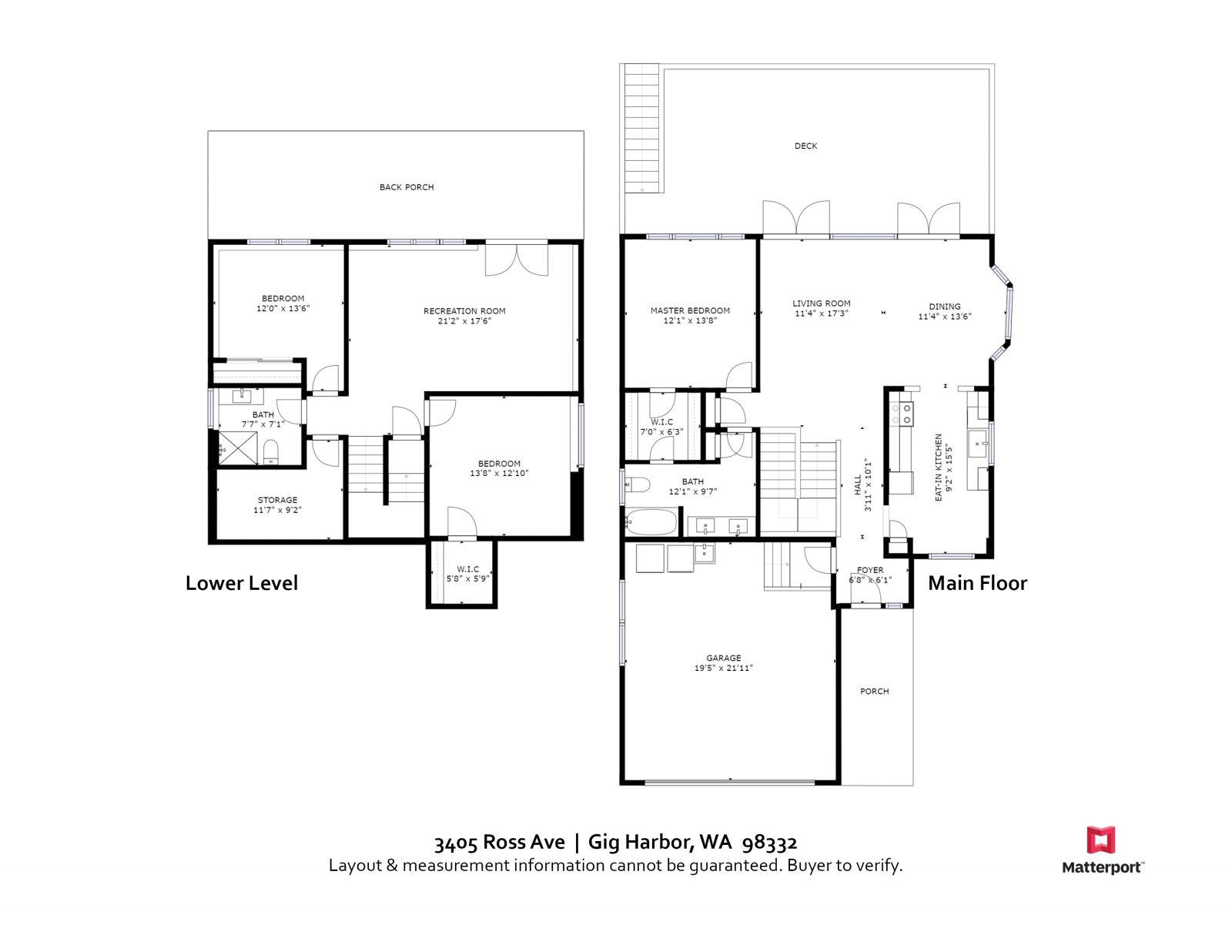 FLOOR PLAN 3405 Ross Ave, Gig Harbor WA